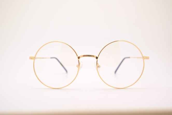 gold framed eyeglasses